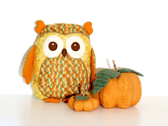 Autumn Owl Pillow,  Plush Owl Rag Doll , Thanksgiving Decor, Patchwork stuffed owl toy, Orange, green, mustard