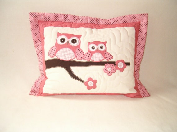 Owl Pillow, Kids Home Decor, Baby Shower  Giftguide, Baby Room Decor salmon brown white