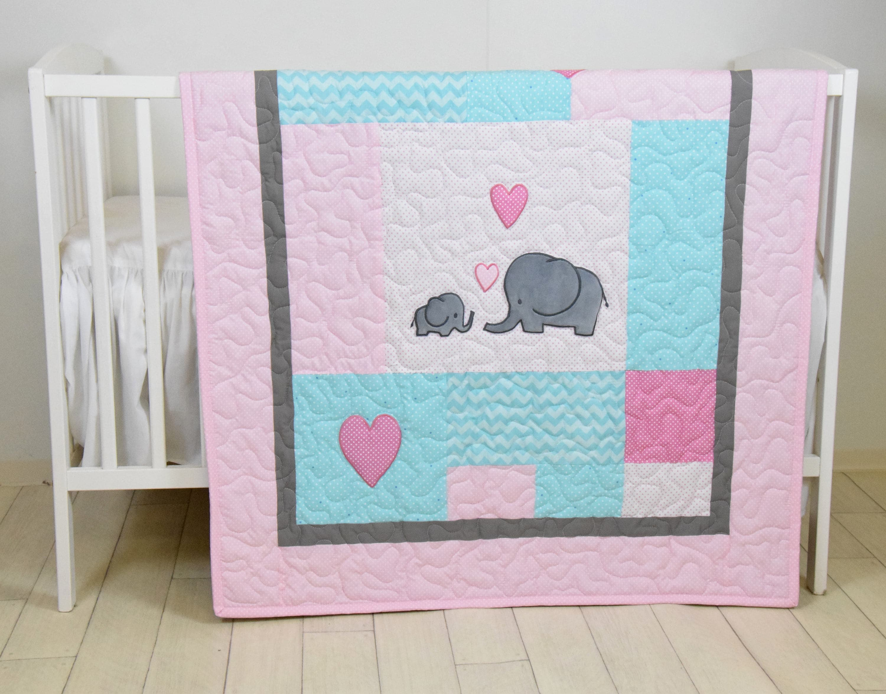 Elephant Baby Quilt, Mint Gray Pink Crib Bedding, Mint