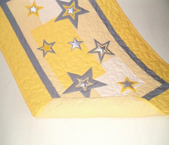 Star Quilt, Crib Baby Quilt, Organic Nursery Bedding, Personalized Baby Shower Gift, Child Decor,   HET