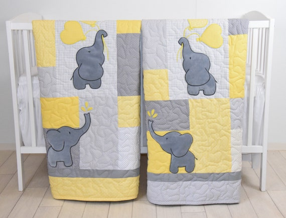Twin Baby Quilts , Elephant Crib Bedding,  Yellow and Gray Blanket, Chevron  Blankets, Toddler Patchwork Bespreads