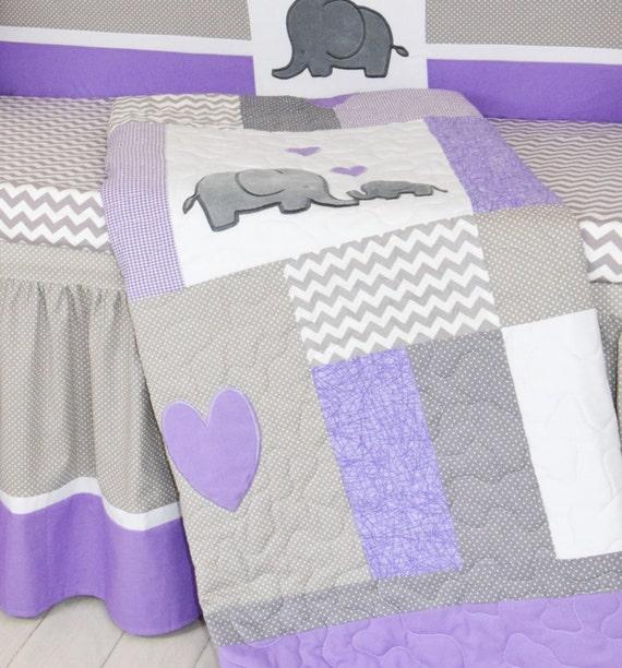 Crib Blanket Elephant Baby Boy Bedding, Grey And Purple Crib Bedding