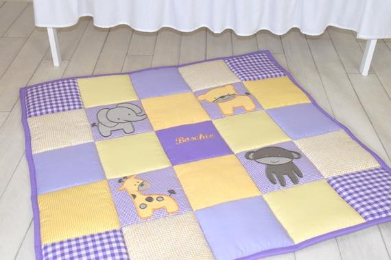 Baby Play Mat, Personalized Playmat, Jungle Baby Mat , Neutral Baby Activity Mat, Safari Baby Playmat, Playroom Decor, Purple and Yellow