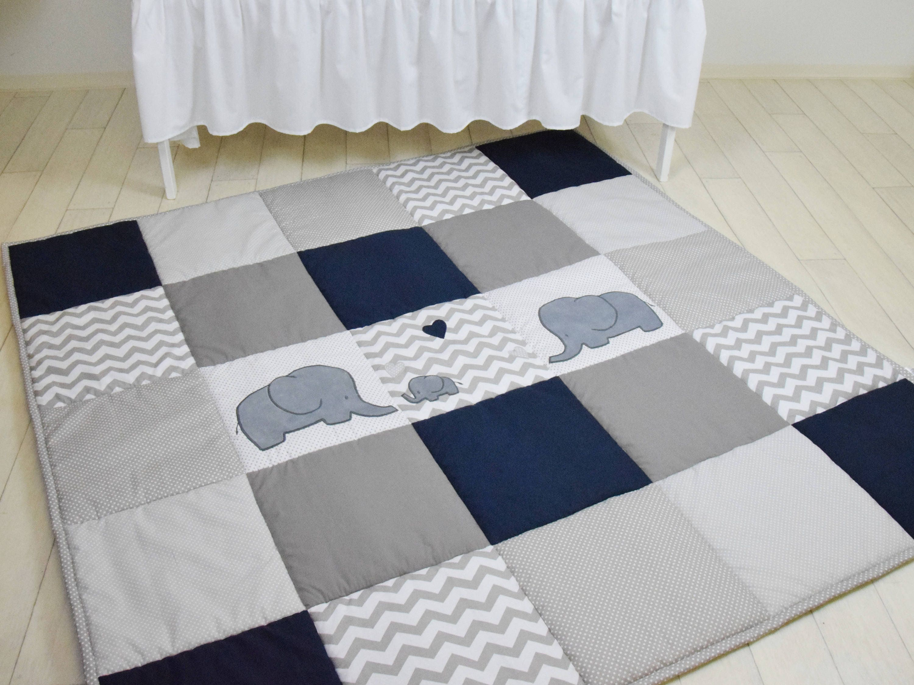 Elephant Playmat Navy Gray Play Mat Floor Gym Crawl Mat