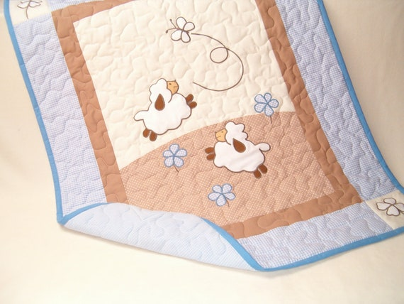 Blue Blanket, Crib  Lamb Blanket, Quilt Blanket, Sweet Lambie Nursery Bedding, Sheep Baby Blanket
