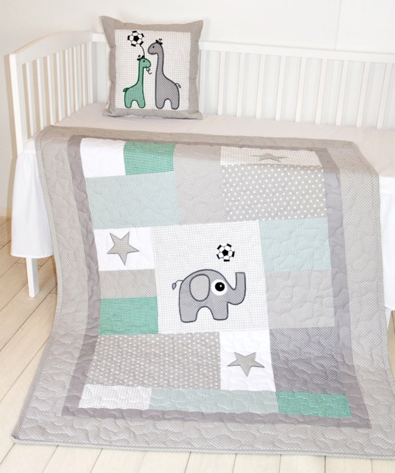 Soccer Quilt and  Pillow,   Sports Baby Boy Blanket,  Soccer Crib Bedding,  Soccer Pillows, Green Gray White