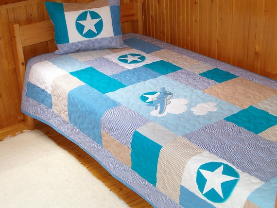 Quilt Bedding,  Airplane Quilt, Patchwork Bedding,  White, Blues, & Brown with Star  quilt pillow cover - HET