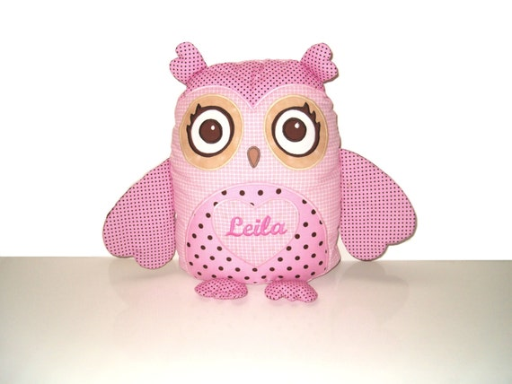 Organic Owl, Custom Personalized Decorative Pillow, Pink and Brown  Baby Shower Gift