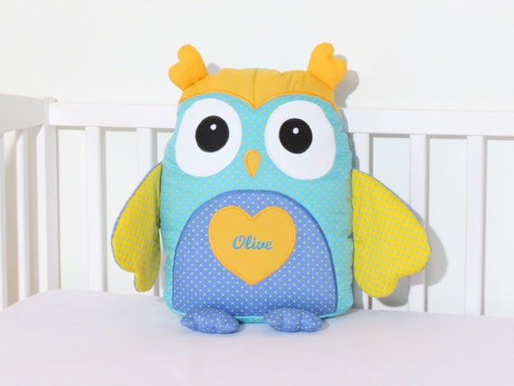Custom Owl Pillow, Baby Toys,  Stuffed  Owl, Shower Gift Present, Turquoise and Yellow