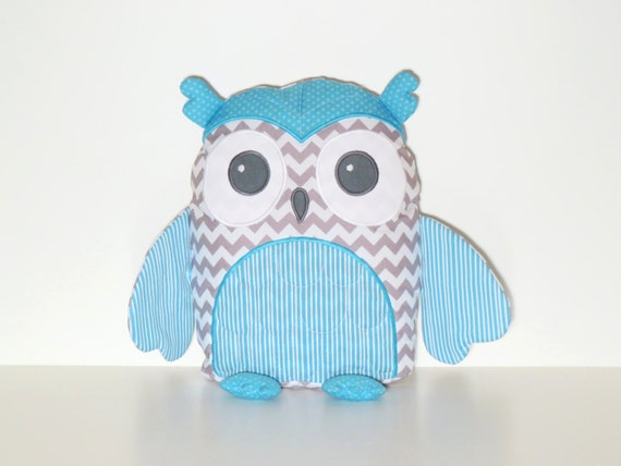 Pillow Cover, Custom Owl, Nursery Pillow Cover, Owl Pillow, Accent Pillow, Aqua Blue, White and Gray Chevron Stripes Dots