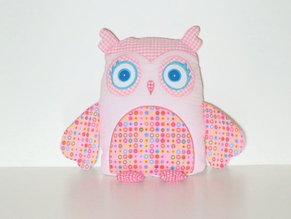 Nursery Owl Pillow Cover, Custom Owl, Pink and Aqua Blue, Rainbow Accent Pillow