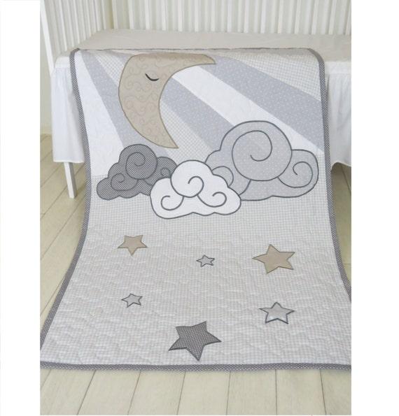 Cloud Boy Quilt, Pastel Moon Baby Blanket, Gray, White Beige  Heirloom Gift, Infant Bedding, Crib Bedding