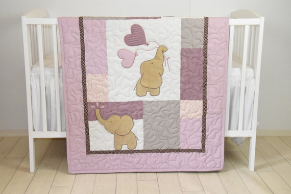 Baby  Quilt,  Elephant Blanket, Magenta Raw Brown Crib Bedding, Safari Nursery