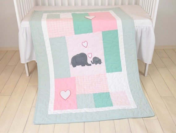Pink Baby Blanket  Mint Elephant Quilt, Girl Crib Bedding, Patchwork Bespread