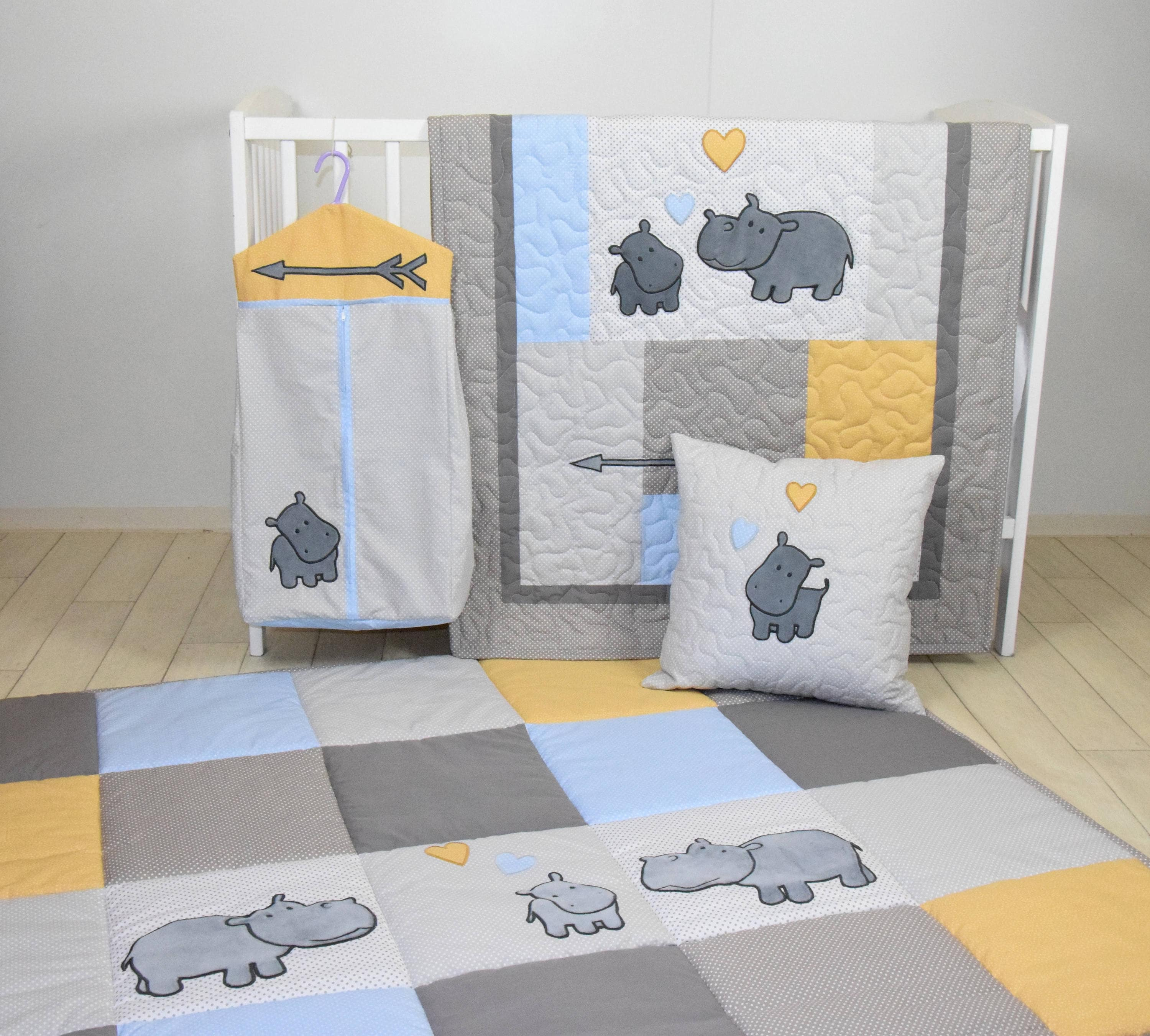 hippo baby quilt hunt playmat neutral baby bedding safari baby