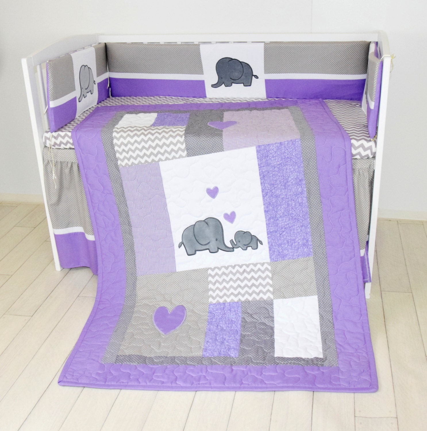 Crib Blanket Elephant Baby Boy Bedding Gray Purple Quilt
