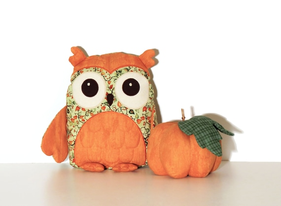 Holiday  Decor, Autumn Owl Pillow, Thanksgiving Decor, Orange, green, gift under 50 by,  READY TO SHIP