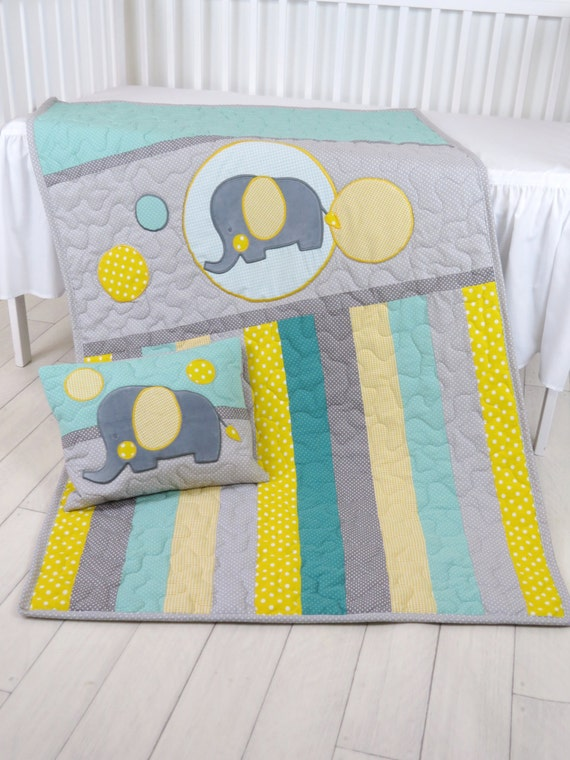 Baby Blanket, Teal Gray Crib Quilt, Elephant Bedding for Baby Boy, Handmade Quilting, Elephant Pillow
