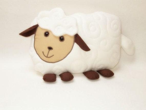 Sfuffed animal in handmade,  lamb  pillow, sheep shaped pillow, lamb kids room decoration, cream white  beige