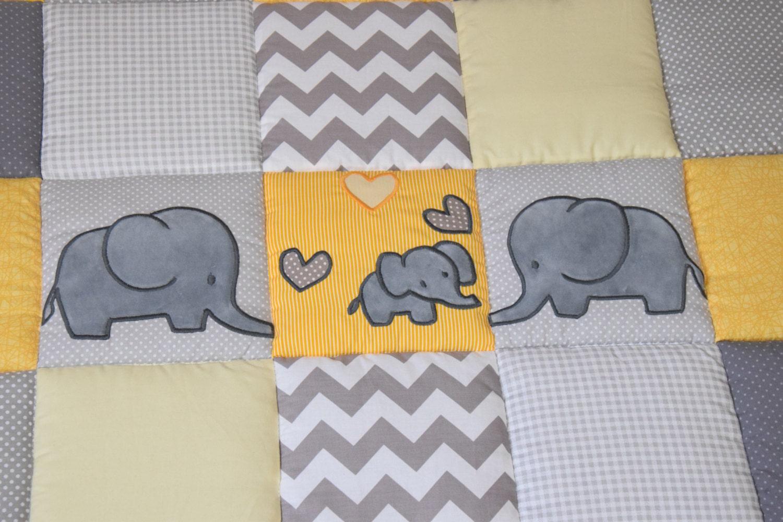 Gray Elephant Playmat Yellow Play Mat Floor Gym Crawl