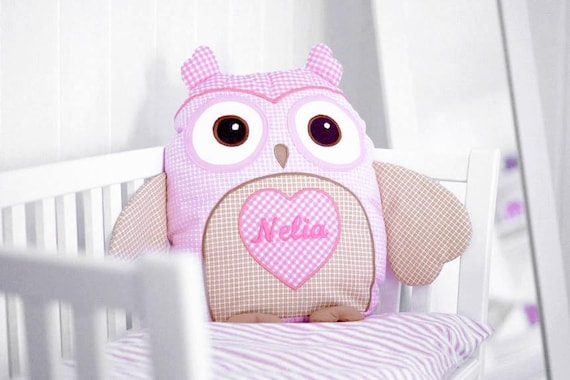 Baby Monogram Pillow , Designer Owl  Pillow,   Custom Baby Pillow