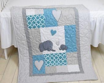 Elephant Baby Blanket, Teal Gray Quilt,  Crib Bedding,   Elephant Blanket, Grey Safari Nursery