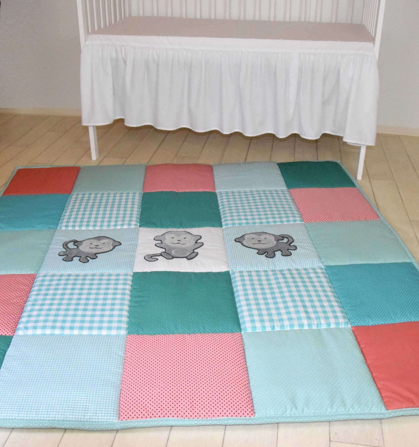 Baby Play Mat, Monkey Playmat, Baby Rug, Baby Activity Mat