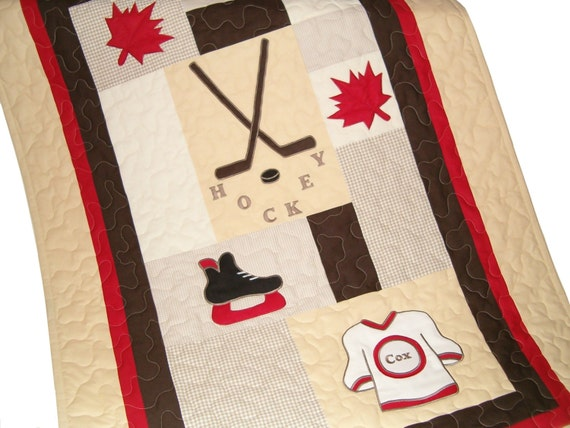 Canadian Hockey  Quilt, Sports Quilt,  Crib Baby Quilt, Organic Nursery Bedding, Personalized Baby Shower Gift
