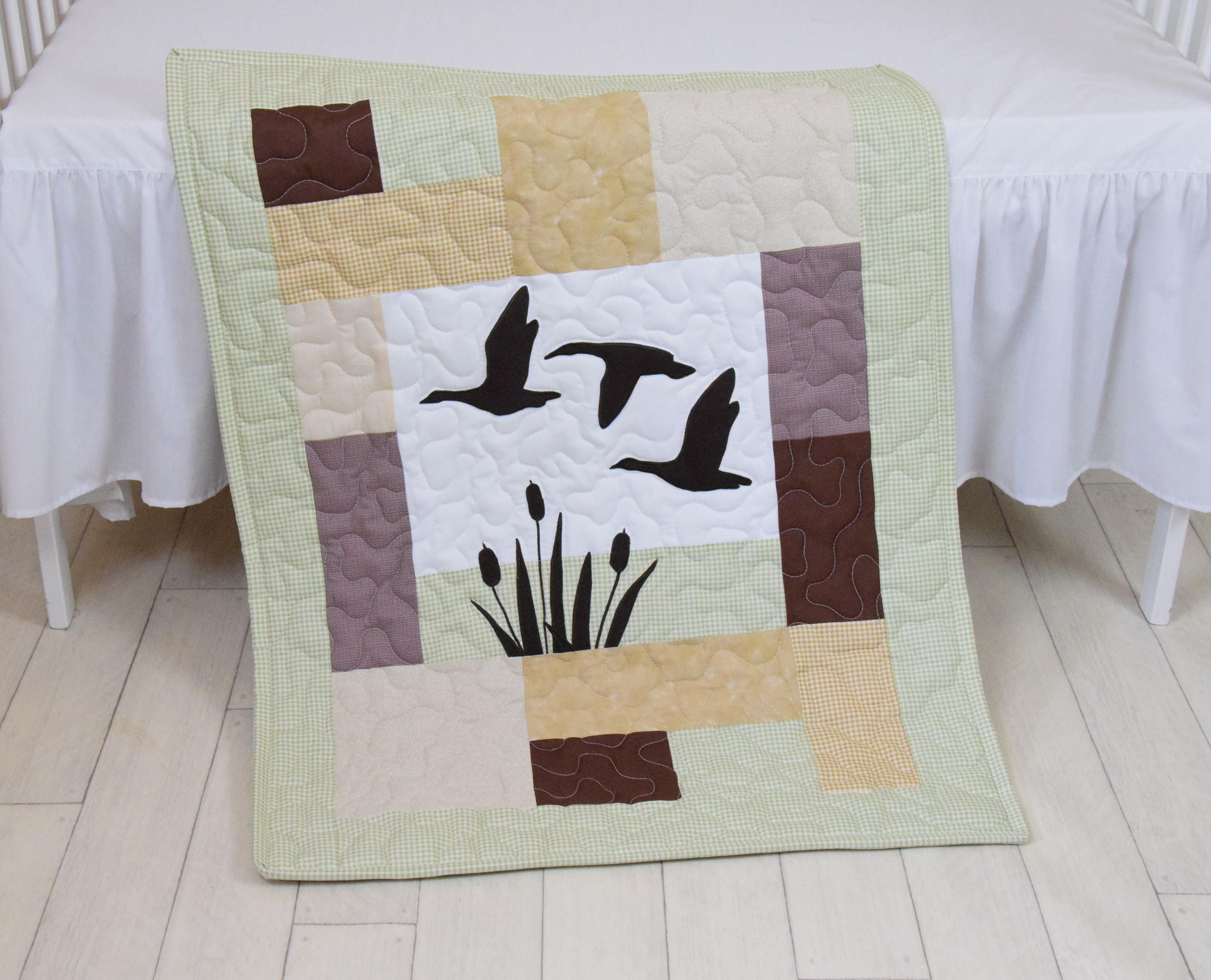 Duck Baby Quilt Hunting Theme Crib Bedding, Hunter Nursery, Woodland Crib  Bedding For Baby Boy, Forest Blanket, Gray, Green, Beige, Brown