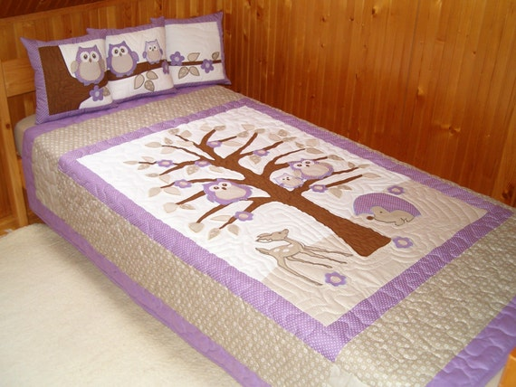 Kids Blankets, Handmade Quilt  Blanket, Purple Owl Quilt and Owl Pillow