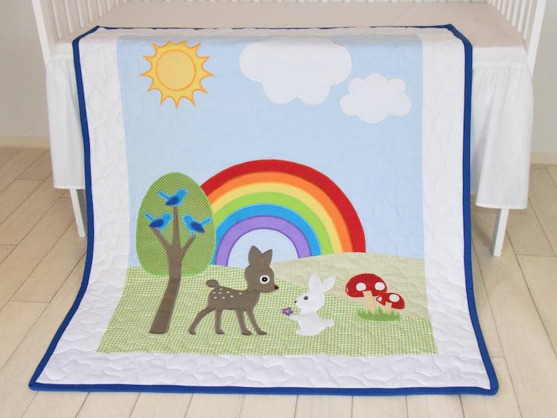 Cute  Bunny Fawn  Blanket Forest Nursery Quilt Boy Crib Bedding Baby Boy or Girl Crib Bedding Rainbow Baby Blanket