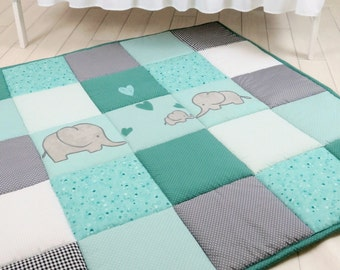 Baby Play Mat, Baby Mat , Baby Activity Mat, Elephant Baby Playmat, Playroom Decor, Mint Green, Teal Blue,  Gray