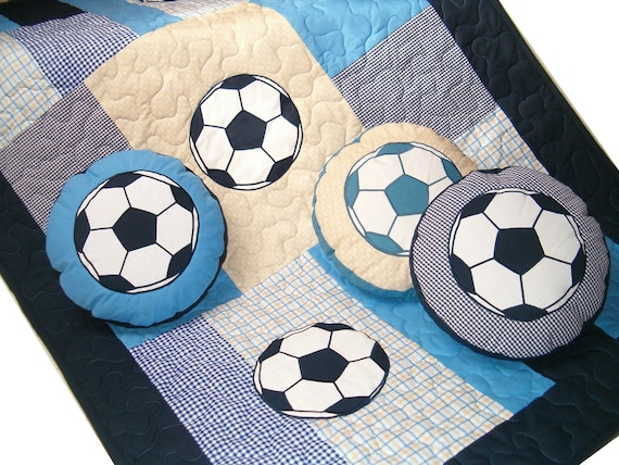 Soccer Ball  Quilts - Patchwork Toddler Blanket - Sports Theme - Toddler Gift,  Soccer Ball Pillows (3) -  blue, beige, white- HET