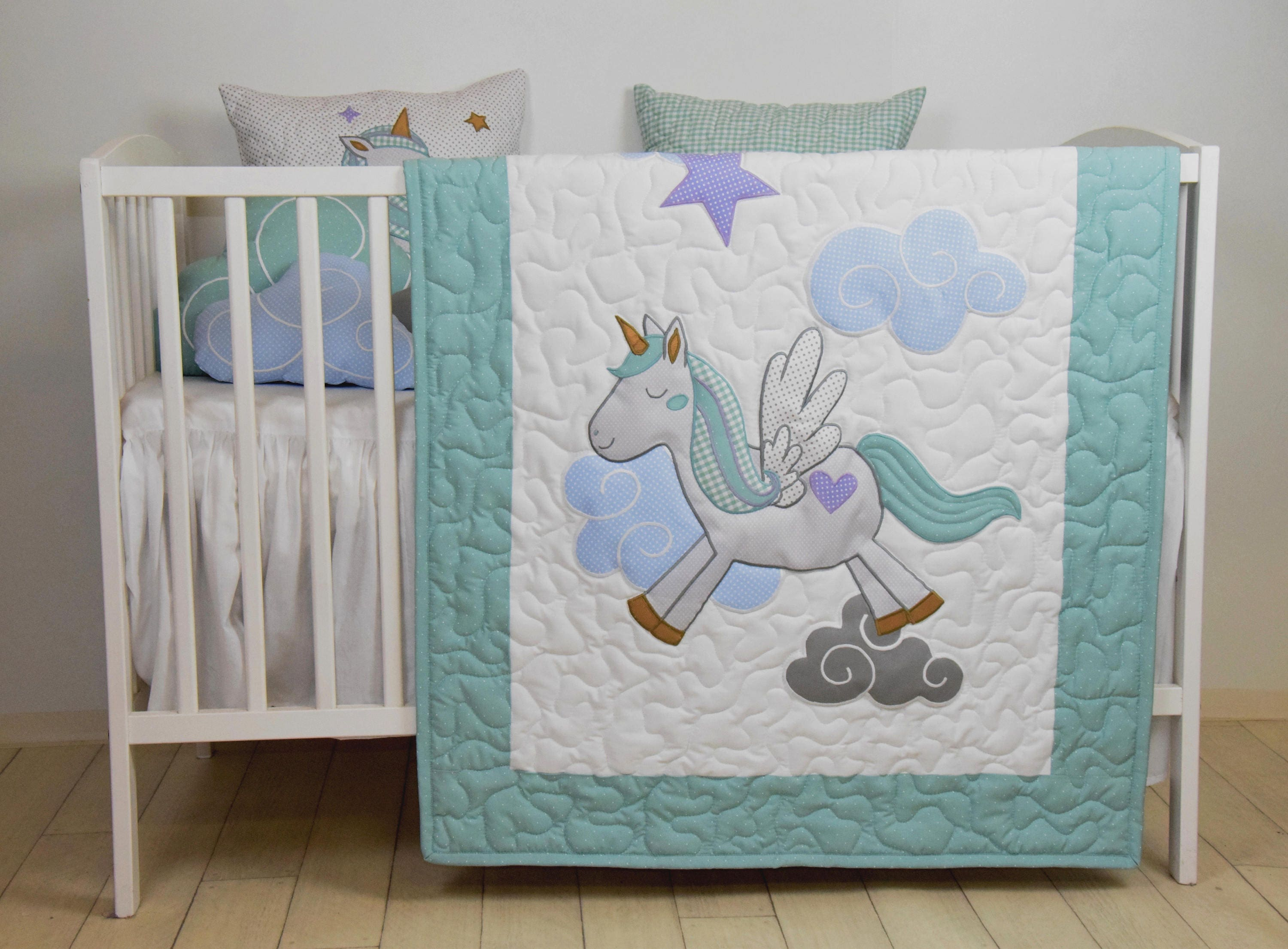 Unicorn Baby Blanket Fantasy Quilt Clouds Magical