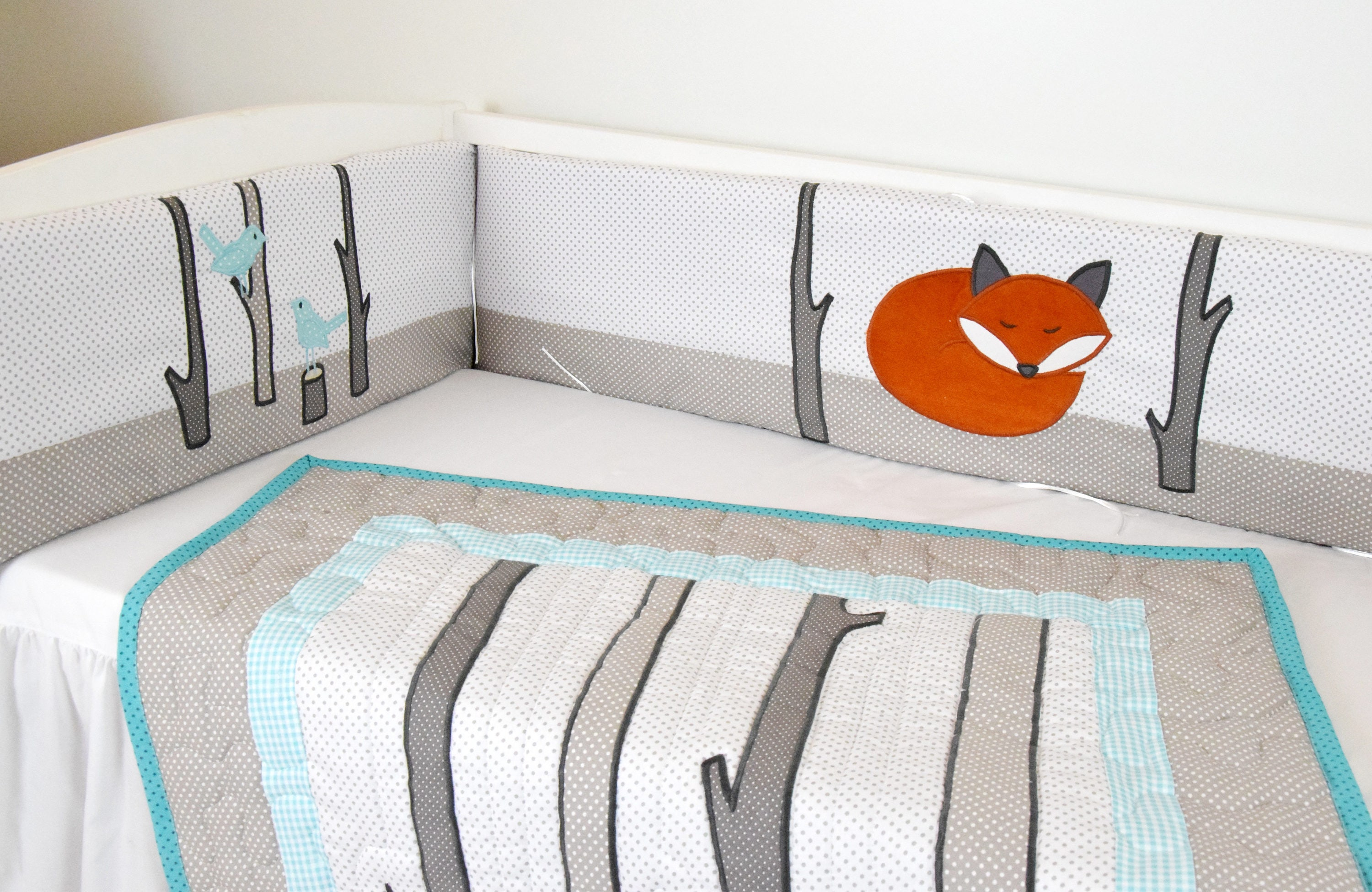 Crib Bumper Fox Baby Boy Bedding Gray White Orange