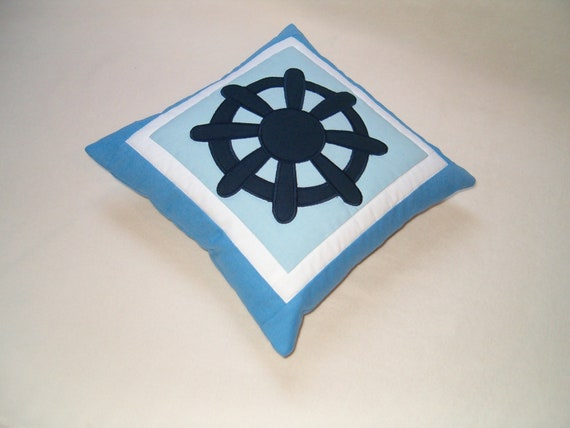 NAUTICAL  PILLOW -  Blue and White- Nautical Ocean Beach Theme - HET