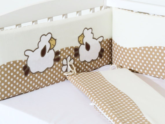 Crib Bumper, Lamb Bumper, Natural Sheep Bumper