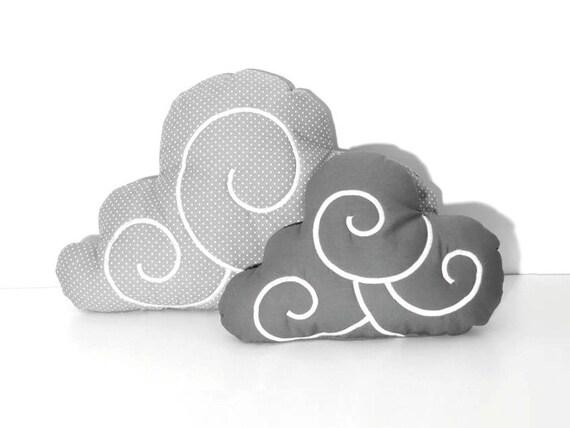 Cloud Pillow Set (2)  - Nursery Decor - Kid Pillow -Light grey and white polka dot - Dark Grey