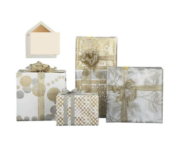 gift packaging, gift wrap with matching bow  and gift card