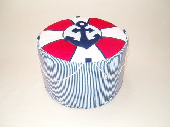 NAUTICAL   Bean Bag, Childrens Pouf ,  Kids Chair,  Nursery,  Toddler