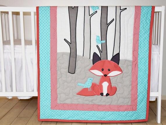 Fox Blanket, Baby Boy or Girl Crib Bedding, Personalized Fox Nursery Quilt, Boy Crib Bedding, Teal Coral Gray Forest Blanket