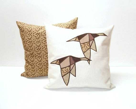 Modern Geometric  Bird Cushions, Designer Pillow,  Appliquéd  Throw Pillows (2)  Minimal Design,  Brown -White - Mustard , Wild Geese Pillow