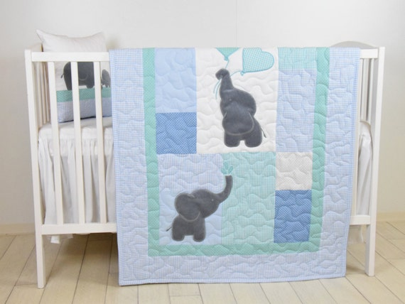 Baby  Quilt,  Elephant Blanket, Mint Blue Gray Crib Bedding, Safari Nursery