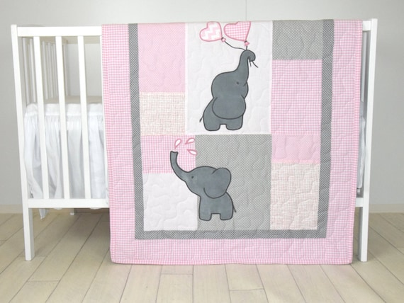 Baby  Girl  Quilt,  Elephant Blanket, Pink Gray Crib Bedding, Safari Nursery