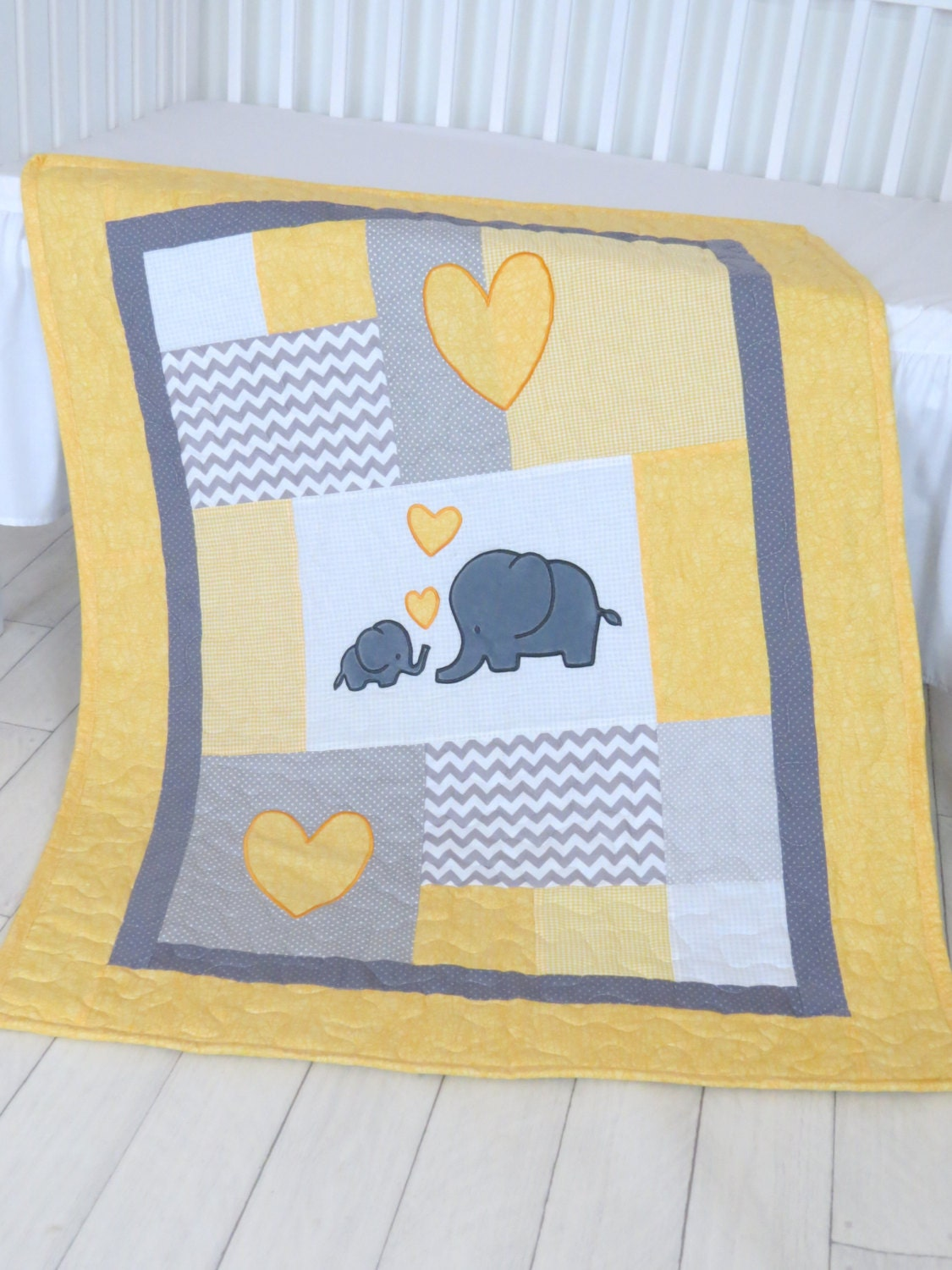 Twin Baby Quilts Elephant Crib Bedding Turquoise Blue Yellow And Gray Blanket Chevron Blankets Toddler Patchwork Bespreads