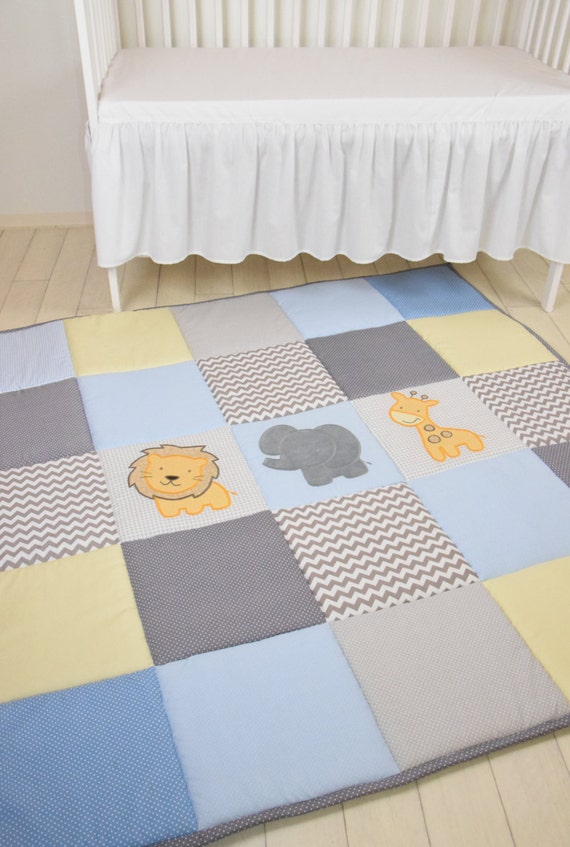Baby Blue Play Mat, Jungle Baby Mat , Baby Activity Mat, Safari Baby Playmat, Playroom Decor, Yellow and Brown  Beige