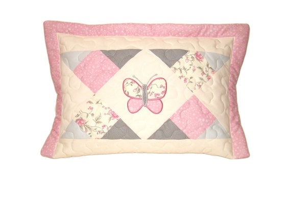 Geometric Patchwork Pillow Case, Quilted  Cushion for Baby Girls, Butterfly Appliué, Nursery Room Decor, pink-cream-gray