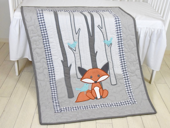 Fox Blanket, Teal  Gray Nursery, Baby Boy Quilt, Woodland Crib Bedding, Forest Blanket,  Custom Made