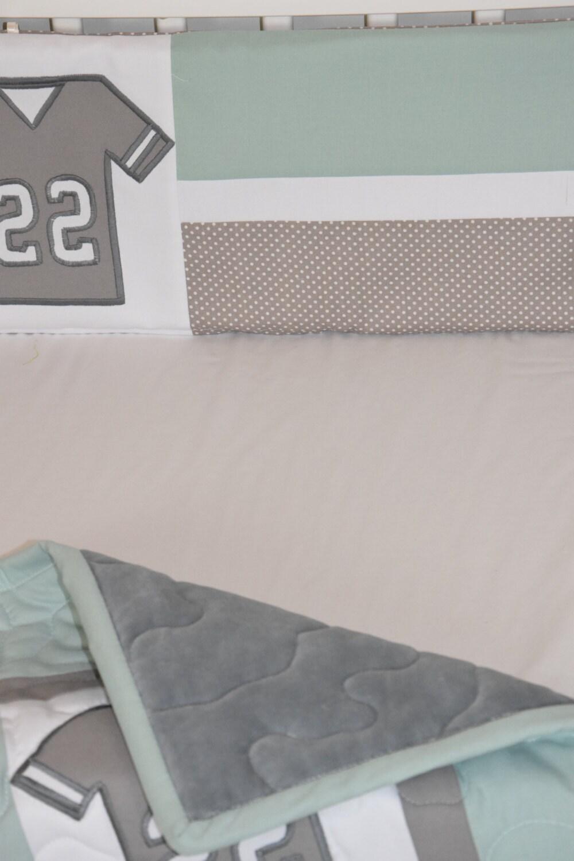 Football Blanket Baby Boy Sports Crib Bedding Gray Mint