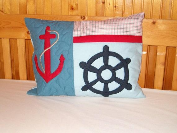 NAUTICAL  PILLOW Designer Pillow,  Blue Red and White- Nautical Ocean Beach Theme - HET
